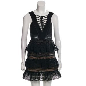 NWT Self-Portrait Lace Up Tier Black Eyelet Dress